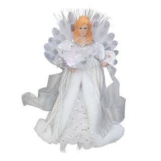 """12"""" Silver and White LED Lighted Fiber Optic Angel Christmas Tree Topper"""