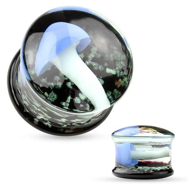 Floating Mushroom Encased Pyrex Glass Saddle Plug (Sold Individually)