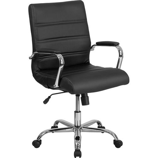 Alexandria Bay Mid-Back Black Leather Stylish Executive Swivel Chair w/Chrome Base & Arms