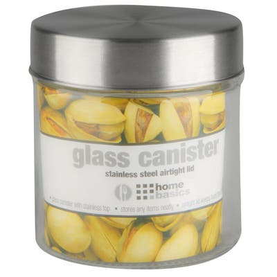Home Basics Clear Glass Round Canister and Steel Lid
