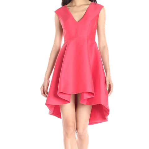 Halston Heritage Women's Pink Size 4 V-Neck Pleated A-Line Dress