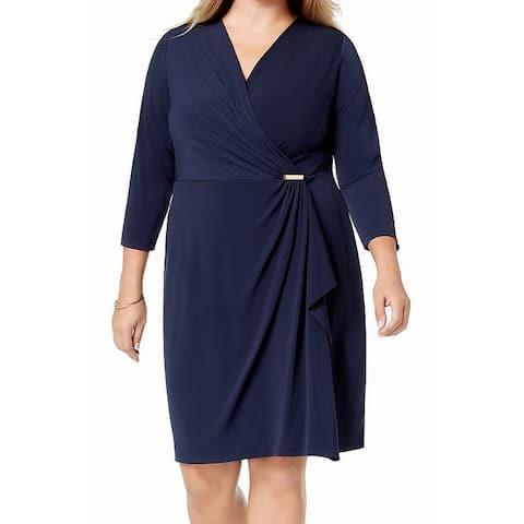 Charter Club Womens Dress Blue Size 1X Plus Faux-Wrap Draped Surplice