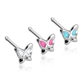 20 GA .925 Sterling Silver Nose Stud with 3mm Butterfly with Epoxy Colored Wings (Sold Ind.)