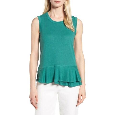Nic + Zoe Green Women's Size XL Peplum Ruffle Hem Tank Cami Top
