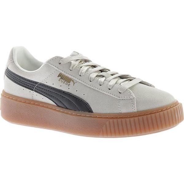 48a78b9dfa3a92 Shop PUMA Women s Suede Platform Sneaker Whisper White PUMA Black ...