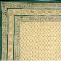 Handmade 100% Cotton Bagru Block Print Tapestry Tablecloth Bedspread Green Twin Full