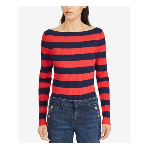 RALPH LAUREN Womens Navy Striped Long Sleeve Boat Neck Top Size 2XS