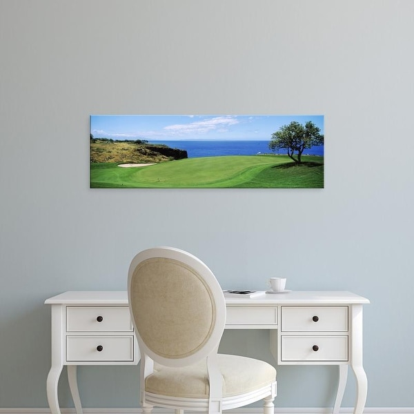 Easy Art Prints Panoramic Image 'Golf course at the oceanside, The Manele Golf Course, Lanai City, Hawaii' Canvas Art