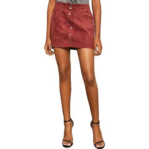 BCBG Max Azria Womens Mora Mini Skirt Faux Suede A-Line