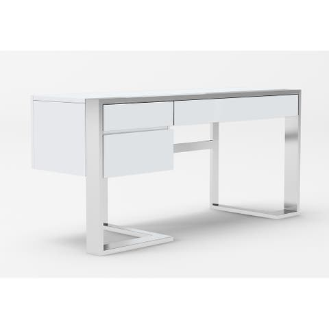 Modrest Fauna Modern White High Gloss & Stainless Steel Desk