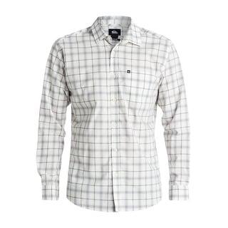 Quiksilver NEW White Ivory Mens Size Large L Button Down Cotton Shirt
