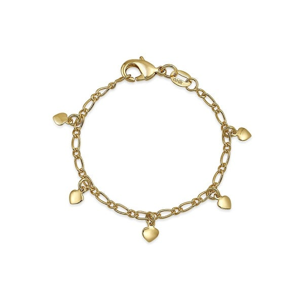 Gold Plated Tiny Dangling Hearts Charm Bracelet For Small Wrists. Opens flyout.