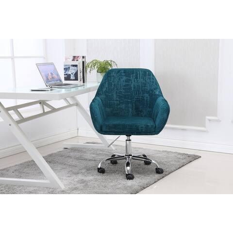 Velvet Upholstered Swivel Adjustable Height Home Office Task Chair
