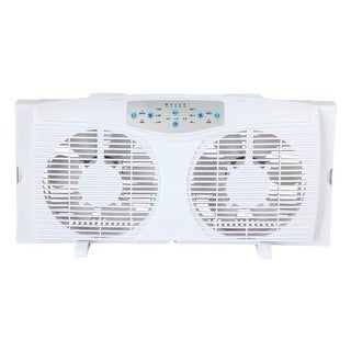 Optimus f-5286 8 reversible twin window fan with thermostat