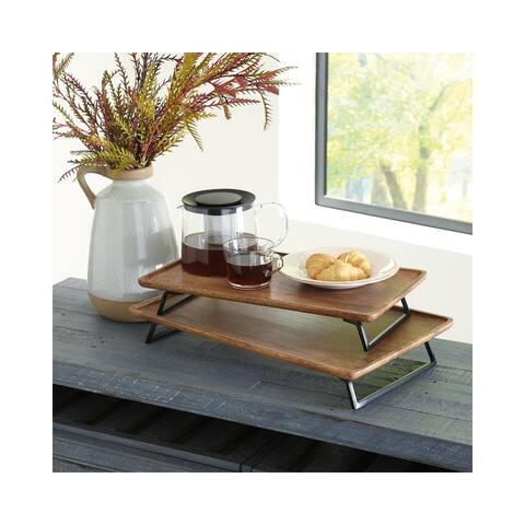 "Kaleena Brown/Black Wood Contemporary Tray - Set of 2 - 27"" x 47"""
