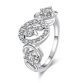 Trio White Topaz Circular Design Petite Ring