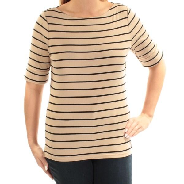 d5e94cb0dfcc65 Shop RALPH LAUREN  35 Womens New 1520 Beige Black Striped Short Sleeve Top L  B+B - Free Shipping On Orders Over  45 - Overstock - 22644871