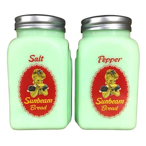 Sunbeam Bread Salt And Pepper Shakers -Green Glass Vintage Logo Spice Dispensers - Green