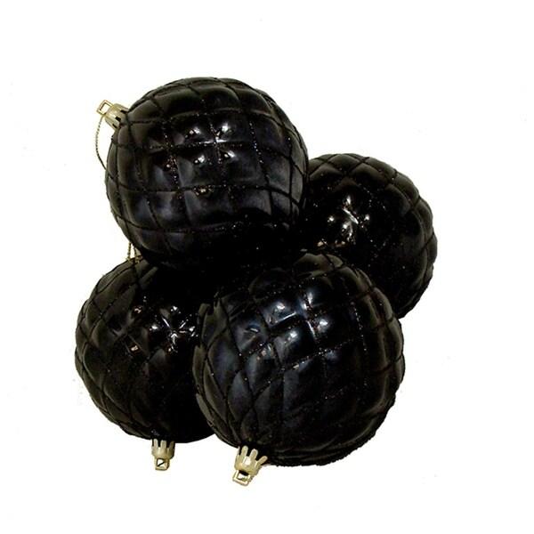 "4ct Shiny Jet Black Diamond Design Shatterproof Christmas Ball Ornaments 3.75"""