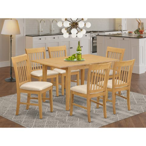 7-piece Dining Set - Oak Finish Dinette Table with Leaf and 6 Kitchen Chairs (Pieces Option)