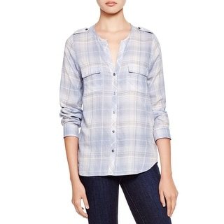 Joie Womens Casual Top Button Plaid