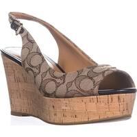 Coach Ferry Peep Toe Slingback Espadrille Wedge Sandals, Khaki/Chestnut