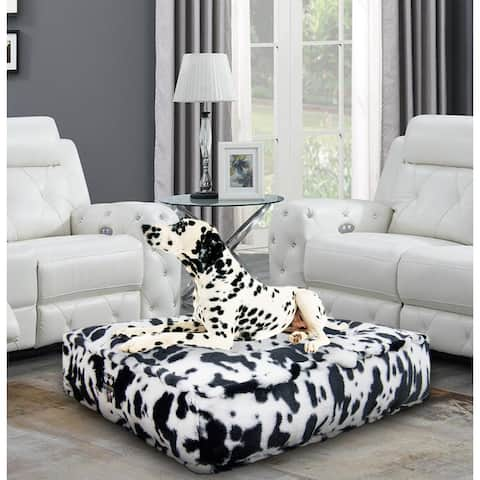 Bessie and Barnie Spotted Pony Ultra Plush Faux Fur Luxury Durable Sicilian Rectangle Pet/Dog Bed