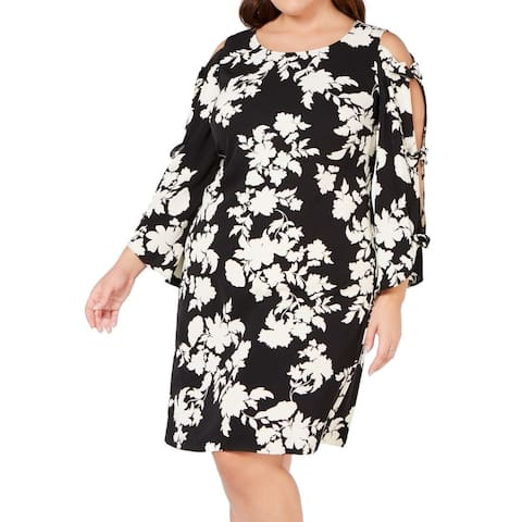 MSK Womens Dress Black Size 20W Plus Sheath Floral Print Scoop Neck