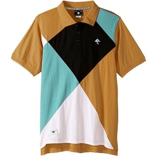 LRG Brown Blue Mens Size XL Argyle Colorblock Polo Rugby Shirt
