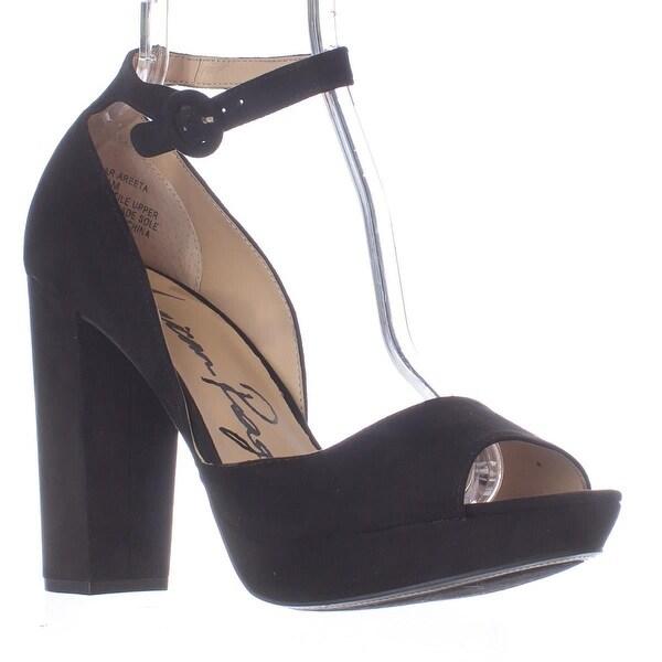 AR35 Reeta Platform Peep Toe Ankle Strap Heels, Black
