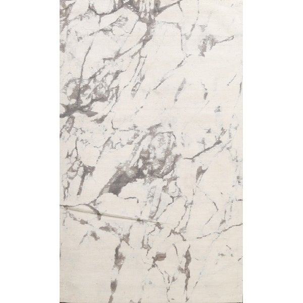 """Modern Abstract Wool/ Silk Highlight Oriental Area Rug Hand-tufted - 5'4"""" x 7'8"""". Opens flyout."""