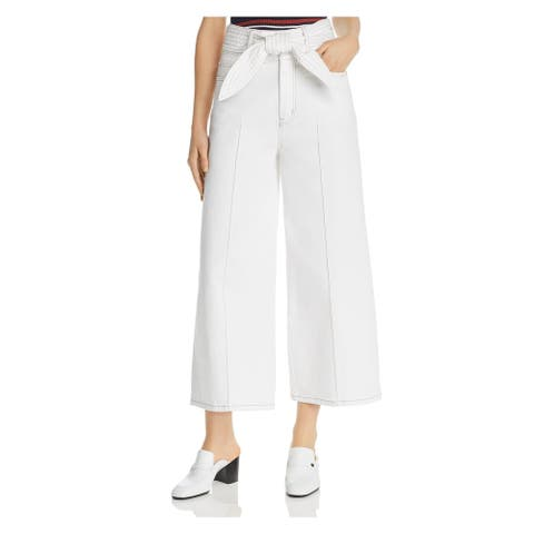 JOIE Womens White Belted Wide Leg Pants Size 24 Waist