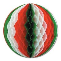 """Club Pack of 12 Red, White and Green Honeycomb Hanging Tissue Ball Party Decorations 12"""" - Red"""