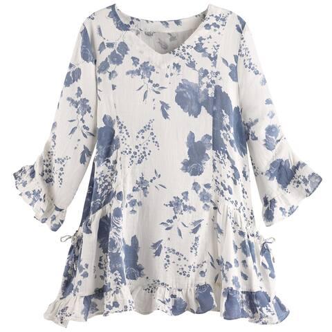 Catalog Classics Women's Blue Delft Tunic Top - 3/4 Sleeve Floral Print Shirt