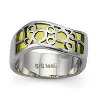 Stainless Steel Women's Ring with Yellow Resin Inlay (Sizes 5-9)