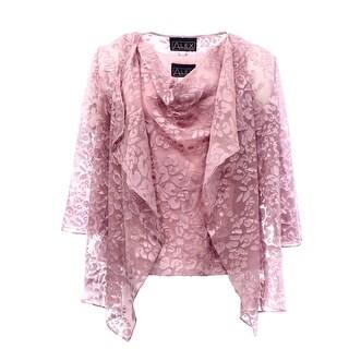 Alex Evenings NEW Pink Burnout Lace Women's Size Large L Twinset