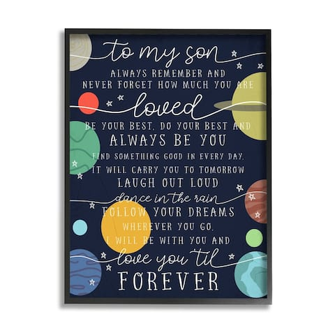 Stupell Industries My Son Love You Forever Phrase Outer Space Framed Wall Art - Multi-Color