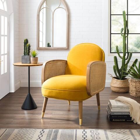 Art-Leon Woven Cane Velvet Accent Chair