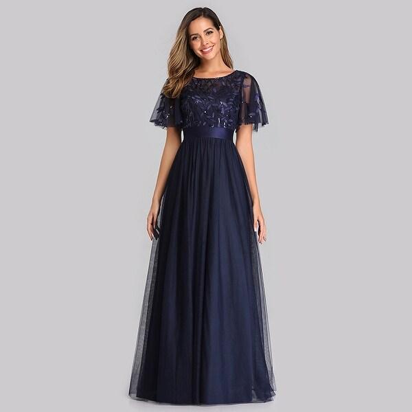 Ever-Pretty Women V-Neck Side Split Glitter Long Formal Evening Dresses 07505