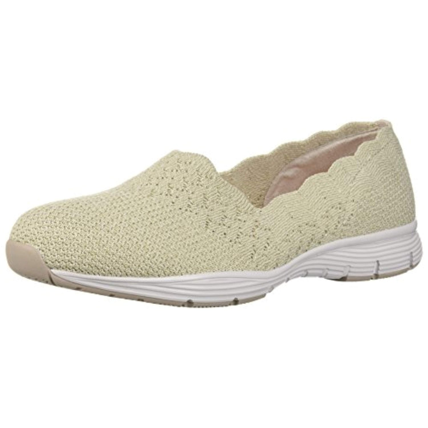 Skechers Women's Seager STAT Scalloped Collar, Engineered Skech Knit Slip On Classic Fit Loafer, Natural, 6.5 M US