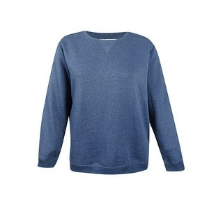 Karen Scott Women's Plus Size Fleece Sweatshirt (1X, Heather Indigo) - heather indigo - 1x