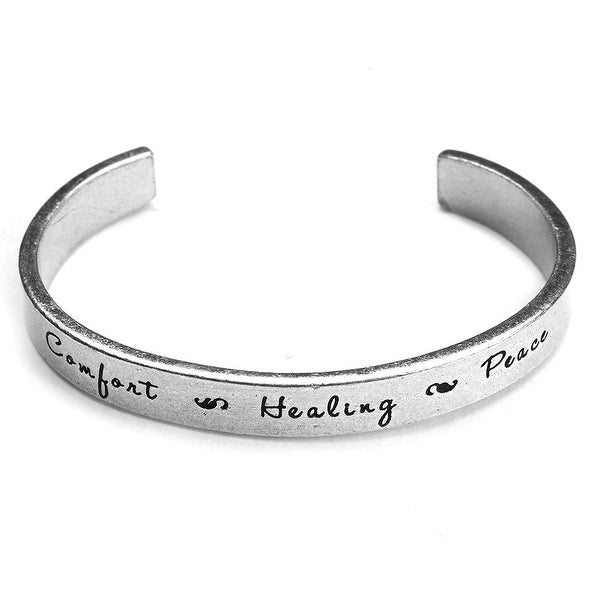 Women's Note To Self Inspirational Lead-Free Pewter Cuff Bracelet - Comfort Healing