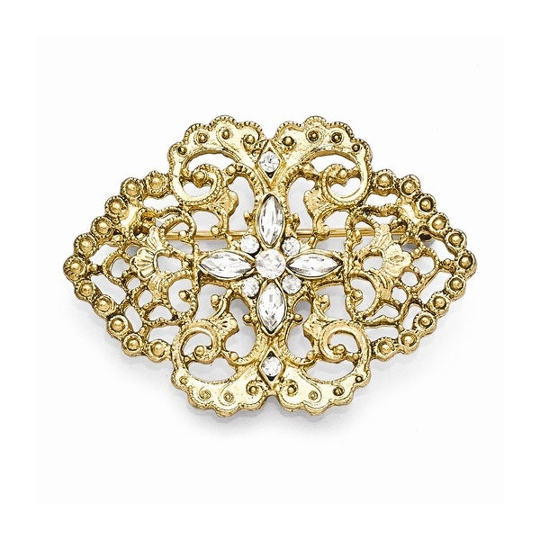 Goldtone Clear Glass Filigree Bar Pin