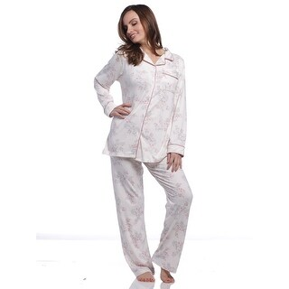 Body Touch Women's Pink Floral Print Classic Pajama Set