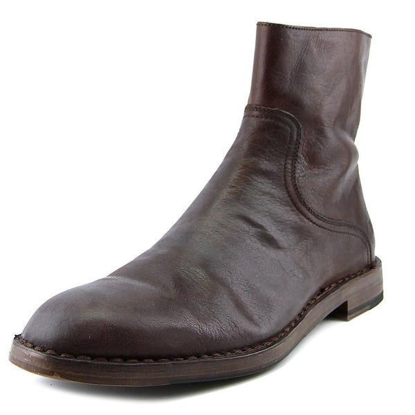 Frye Mark Inside Zip Men Round Toe Leather Brown Boot