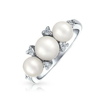 Bling Jewelry 925 Sterling Silver CZ Freshwater Cultured Pearl Ring Rhodium Plated