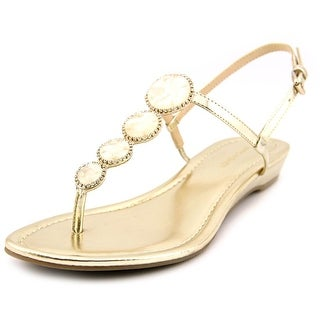 Marc Fisher Gizelle Women Open-Toe Synthetic Gold Slingback Sandal