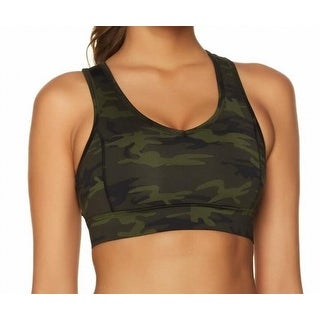 Jessica Simpson The Warm Up NEW Green Wome Large L Camo Sport Bra