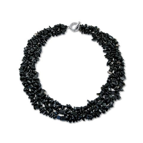 Black Onyx Chip Stone Wide Chunky Cluster Multi Strand Bib Collar Statement Necklace For Women
