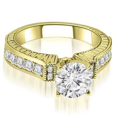 1.05 CT Vintage Antique Round Cut Diamond Engagement Ring in 14KT Gold - White H-I